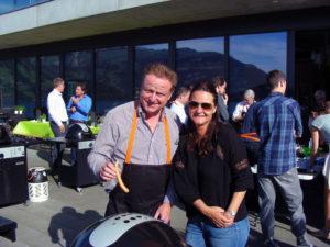 Fussball-Meister-Trainer Rolf Fringer mit Heat&Meat-Kolumnistin Diana