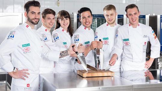 Schweizer Kochnationalmannschaft: v.l.n.r. Jordan Thompson, Frederik Jud, Stefanie Siegenthaler, Christian Oliveira, Silvan Holenstein, Niklas Schneider.